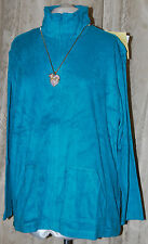 SUSAN GRAVER QVC ACTIVE FRENCH TERRY JACKET GORGEOUS JADE ZIPS STAND COLLAR 2X