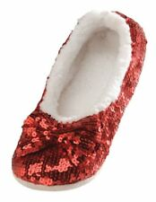 snoozies! Ballerina Bling Metallic Shine Womens Cozy Slippers X Large Ruby Red