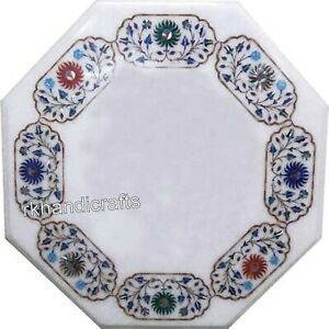 Octagonal Marble Coffee Table Top with Floral Border Art Center table 24 Inches