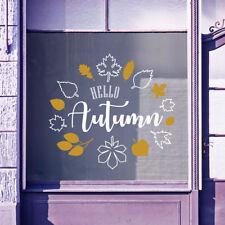 Hello Herbst Zeit Begrüßung Vinyls Schaufenster Display Wand Aufkleber B32