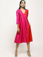 Indian Bollywood Women Ethnic Silk Kurta Dress Occasion Party Casual 3/4 Sleeve