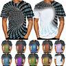 New Design Men's 3D Printing Gradient Round Neck Short Sleeve Shirt Tops Blouse