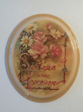 Vintage SISTERS ARE FOREVER Laquered Plaque Peach Flowers Wall Hanging