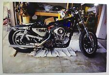 Vintage PHOTO Of A Custom Harley Davidson Motorcycle w/ Towels Underneath Oil