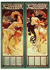 """Mucha 1976 Authentic Vintage Art Nouveau Print """"Chocolat Masson/mexicain"""""""