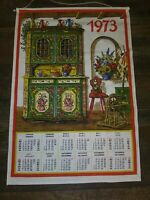 Vintage Linen Collectible Hanging Calendar Dish Tea Towel 1973 French English