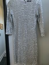 ASOS TFNC Sequin Bodycon Cocktail Dress with Long Sleeves - Matt Silver / XS