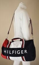 TOMMY HILFIGER LARGE DUFFLE BAG GYM NAVY BLUE RED WHITE SYNTHETIC