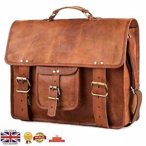 """Men's 15"""" goat leather messenger Real satchel bag genuine laptop brown briefcase"""