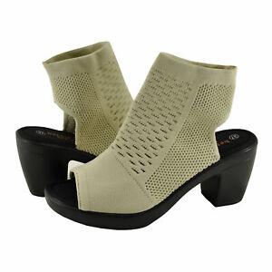 Women's Shoe Bernie Mev. TEXAS SALMA Block Heel Knit Sandal Heels NUDE