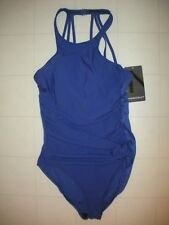 Magicsuit Miraclesuit Twilight Blue Danika 1-Pc High Neck Swimsuit Sz 8 NWT