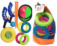 4 IN 1 Jardín & Playa Juegos Anillo Lanzar Frisbee Pelota & Catch Bola Familia