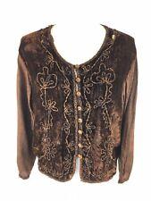 Raaga Boho Button Cardigan Blouse Free Size Brown Velour Art To Wear Hippie