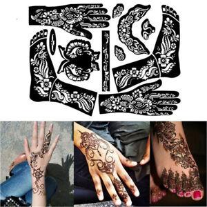 Unisex Art Tattoo Stickers Temporary DIY Tool India Henna Template Hand Body