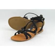Sandalias y chanclas de mujer planos de color principal negro de lona