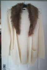 Brave Soul Cardigan Fur Collar Size 12 New