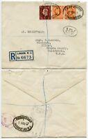 GB REGISTERED AIRMAIL AR AVIS RECEIPT 1937 to CALIFORNIA USA