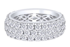 925 Sterling Silver 3-Row Round-Cut Pave Band Ring set with Cubic Zirconia