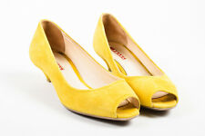 Prada Sport Yellow Suede Peep Toe Low Heel Pumps SZ 37.5