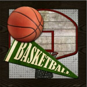 "Basketball Novelty Metal Sign 12"" x 12"" Wall Decor - DS"