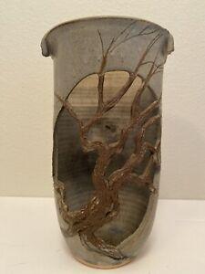 Vintage Signed 1988 Don Walton Treepot Pottery Vase Candle Holder N. Carolina