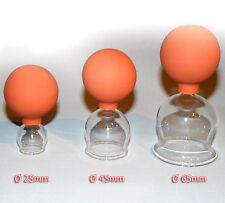 Schröpfglas 3 Schröpfgläser im SET 25 45 65 mm mit Saugball zum Schröpfen