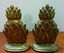 Vintage Solid Brass Pineapple Bookends Hollywood Regency 6 1/8""