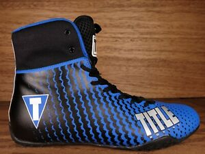 Title Boxing Lightweight Mid-Length Boxing Shoes Mens Size 14 Blue Black Silver