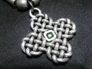 Celtic Cross Knotted Pewter Pendant with green crystal and Cord