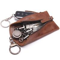 Genuine Leather Car Key Holder Keychain + 6 Key Rings Men & Women Keys Wallet