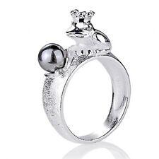 Frosch mit Perle Ring Gr. 56 Heartbreaker Froschkönig LD FG 12 PW G Silber Krone