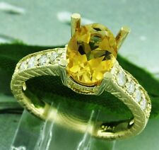 1.95 ct 14k Solid Yellow Gold Natural Diamond & Oval Citrine Ring 4.70 Grams