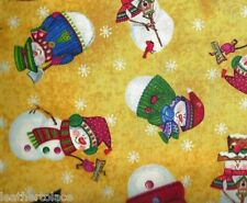 Quilting Treasures ~ Snow Friends Snowmen Yellow ~ 100% Cotton Quilt Fabric BTY