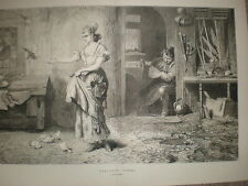 Peaceful Times Marcus Stone large old print 1875
