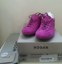 HOGAN PINK SUEDE LEATHER SNEAKERS OLYMPIA LACE UP WALKING SHOES NEW SIZE 35