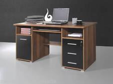 Büro Computertisch Büromöbel Schreibtisch Walnuss schw.