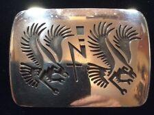 Vintage Sterling Silver Belt Buckle By Hopi Artist Norman Honie