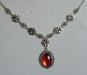 CAMELLIA FILIGREE VICTORIAN STYLE FACETED ORANGE RED SILVER PLATED NECKLACE CF