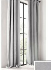 Pair Of Restoration Hardware Washed Belgian Linen Rod Pocket Drapes 108x116 Mist