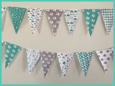BABY SHOWER PARTY PAPER BUNTING BANNER. UNISEX ELEPHANTS, FEET, CLOUDS TEAL GREY