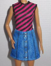 DRESS ONLY ~ MATTEL TALL BARBIE DOLL FASHIONISTA STRIPED TOP JEAN SKIRT CLOTHING