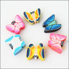 8Pcs Mixed Polymer Fimo Clay Animal Butterfly Spacer Beads Charms 13x15mm