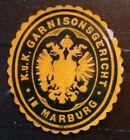 Siegelmarke um 1900 , k.u.k. Garnisionsgericht in Marburg