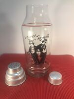 Rare Antique Sweet Ad-Aline Cocktail Shaker PARTY SIZE Glass & Chrome Black Red