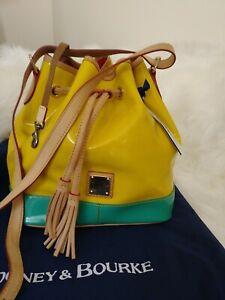 Dooney & Bourke Patent Leather Tassel Drawstring Shoulder Bucket Bag