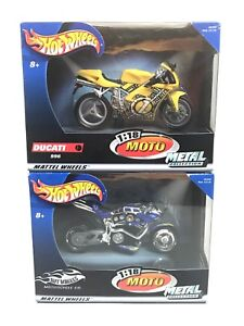 LOT OF 2! Hot Wheels 1:18 Moto Metal Collection Ducati & HW Motorcycle Co.