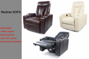 Electric Recliner Chair Sofa Leather 1 Seater Electroplated Cupholder OKIN Motor