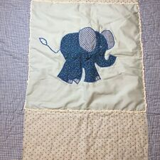 "Elephant Applique Quilt Blue Gingham Crib 40.5"" x 42.5"""