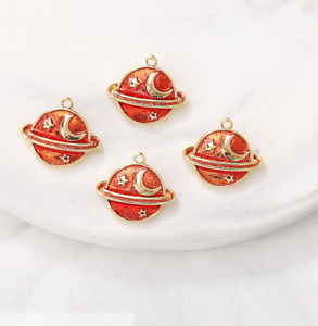 50pcs 8x10mm Red planet copper pendant diy necklace bracelet earrings pendant