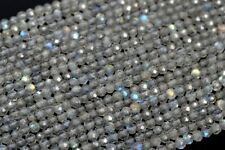 """2MM Genuine Natural Gray Labradorite Beads AAA Faceted Rondelle Loose Bead 15.5"""""""